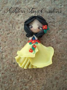 Snow white flower dress polymer clay