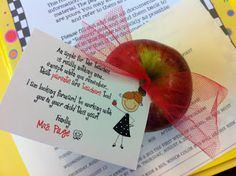 """This website has lots of cute ideas to impress parents on Back to School Night. My favorite is this little poem tied to an apple. It says:  """" An apple for the teacher,    is really nothing new...    except when you remember    that parents are teachers too!      I am looking forward to working    with you and your child this year!"""""""