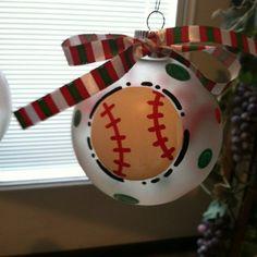 Baseball/softball ornament Diy Ornaments, Holiday Ornaments, Holiday Crafts, Holiday Fun, Christmas Tree Themes, Family Christmas, Winter Christmas, Merry Christmas, Softball Mom