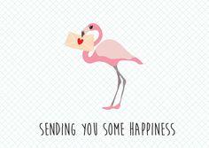 Kaartje Flamingo sending you some happiness.Ansichtkaart met tekst sending you some happiness. Leuk om te geven of te sturen naar iedereen die het nodig heeft. Maar je kunt de kaart natuurlijk ook in je eigen interieur ophangen