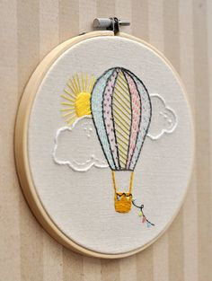Your place to buy and sell all things handmade,Hot Air Balloon Embroidery Hoop Wall by LittleLDesignsShop on Etsy What's embroidery ? Generally, embroidery is really a specific means of textile han. Simple Embroidery, Hand Embroidery Stitches, Hand Embroidery Designs, Cross Stitch Embroidery, Wooden Embroidery Hoops, Embroidery Hoop Art, Wall Ornaments, Hot Air Balloon, Sewing Crafts