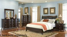 4pc Queen Size Bedroom Set With Padded Headboard In Espresso Finish