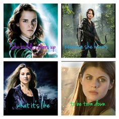 Harry Potter, The Hunger Games, Divergent and Percy Jackson. Hermione, Katniss, Tris and Annabeth I love you your all amazing!