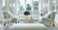 A soft muted sage green works in a variety of furniture patterns. Design by Tara Johnson.