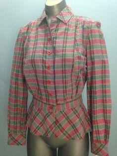 1970s Adini cotton blouse 70s peplum shirt size by melsvanity, $48.00