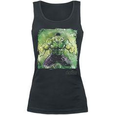 """#Top donna nero """"Age Of Ultron - Hulk Art"""" degli #Avengers con ampia stampa frontale."""