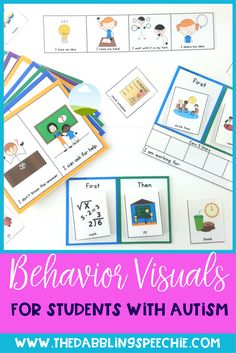 Behavior visuals for sped teachers, SLPs, counselors and teachers. Includes visual supports for helping students with transitioning and what to do next in the classroom. First/then chart, working for charts, visual necklace and visual supports for listeni Autism Classroom, Special Education Classroom, Preschool Education, Speech Therapy Activities, Language Activities, Math Activities, Speech Language Pathology, Speech And Language, Receptive Language