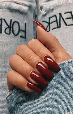Fake Acrylic Nails, Square Acrylic Nails, Gel Nails, Coffin Nails, Acrylic Nails Autumn, Classy Acrylic Nails, Fall Nail Polish, Kendall Jenner Nails, Dark Red Nails