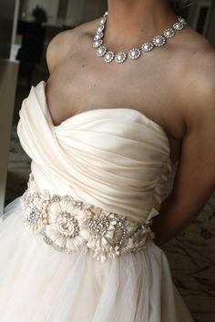 My cousin picked out the perfect necklace for this dress! Lazaro 3108
