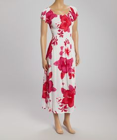 42bd49ed1 White  amp  Pink Flower Shirred Maxi Dress by Advance Apparels  zulily   zulilyfinds Pink