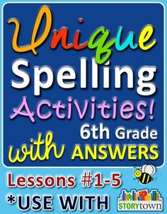 Unique Spelling Activities for 6th grade - Lessons 1-5 w/ answers! Great for 5th graders too!