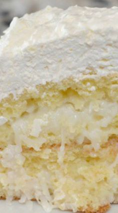 Easy Coconut Cake ~ It is so simple to make and super delicious. Easy Coconut Cake ~ It is so simple to make and super delicious. Coconut Cake Easy, Coconut Recipes, Coconut Cakes, Coconut Sugar, Coconut Cake Recipe With Sour Cream, Best Ever Coconut Cake Recipe, Coconut Cake Frosting, Coconut Cake From Scratch, Lemon Cakes