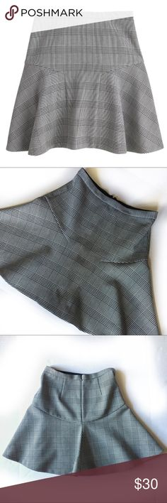 """J. Crew Plaid in Glen Plaid J. Crew Plaza skirt in glen plaid, fit and flare! So cute, hard to capture a good photo though. Measured aging flat: waist about 14"""". Length 18"""" J. Crew Skirts"""