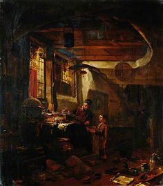 Interior with an Alchemist Examining a Bowl Brought by a Boy