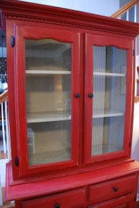 Small China Cabinet (Annie Sloan Emperor's silk on outside and AS Country Grey on inside) {uniquely yours or mine}