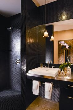 Black mosaic tile bathroom at the Redbury Hollywood. Hugest shower ever and stunningly appointed