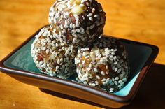 Date balls with Rice Crispies, black cumin and coconut.