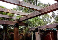 Pergola With Metal Roof Diy Pergola, Pergola On The Roof, Timber Pergola, Timber Beams, Pergola Curtains, Pergola Attached To House, Pergola Kits, Outdoor Gazebos, Outdoor Areas