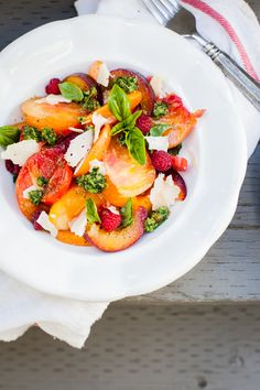 Tomatoes & Peach Salad with Homemade Pesto and Parmesan Recipe