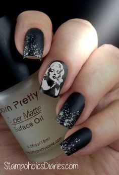 Marilyn nails with Born Pretty BP-15, Essence Fatal and Artdeco 410 StampoholicsDiaries.com
