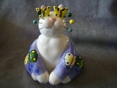 """Amy Lacombe """"Butterfly"""" & """"Pirate"""" Cat Figurines 