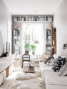 The Best Shelves for Small Spaces: Mounted bookshelves above a window