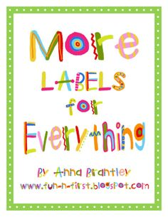 Crazy for First Grade: More Labels for YOU!!! The font is called Giddy Gingerbread and can be found at Lettering Delights website to make additional labels.