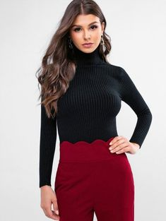 Pop Fashion, Daily Fashion, Teen Fashion, Style Fashion, Turtleneck Outfit, Ribbed Turtleneck, Cute Sweaters, Black Sweaters, Barbie Model