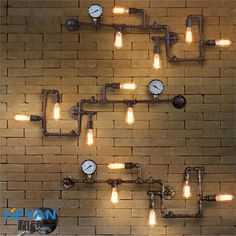 Retro Cafe industrial loft style decorative balcony aisle lamps American restaurant and bar iron pipe Wall-SGshop