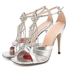 Sexy Heels, Stiletto Heels, Silver Outfits, Dressy Shoes, Crystal Brooch, Metallic Leather, Strap Sandals, Criss Cross, Open Toe
