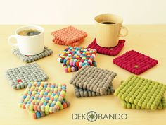 Crafts To Make And Sell, Diy And Crafts, Crafts For Kids, Handmade Crafts, Cute Crafts, Creative Crafts, Diy Wool Felt, Pom Pom Crafts, Diy Coasters