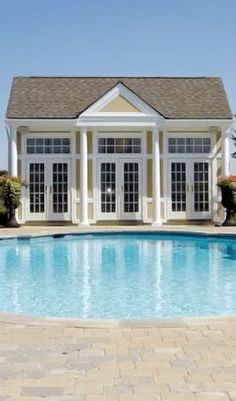 Connected to house via corridor. Bathroom and office/craft room Pictures of pool. Pool House Shed, Pool House Plans, Pool Houses, House Pools, Garden Houses, Tiny Houses, Pool House Designs, Pavilion Design, Pool Cabana