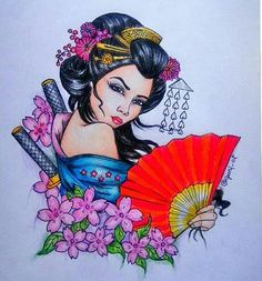 Geisha Colouring Page Asian Coloring Pages Pinterest