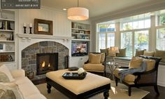 I love everything about this room, especially the bay window and fire place