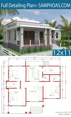 House Design with Full Plan 3 Bedrooms - SamPhoas Plan Bungalow House Plans, Bungalow House Design, Cottage House Plans, Bedroom House Plans, Dream House Plans, Small House Plans, House Floor Plans, Dream Houses, House Layout Plans