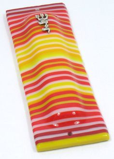 Fused Glass Mezuzah case. OnEdge glass stripes reds by RamizGlass, $54.00