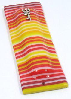 Fused Glass Mezuzah case. OnEdge glass stripes reds by RamizGlass, $54.00
