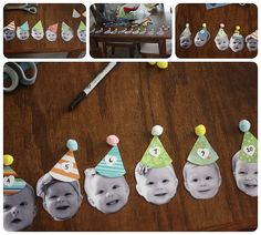 Monthly head shots into garland for 1st birthday party!