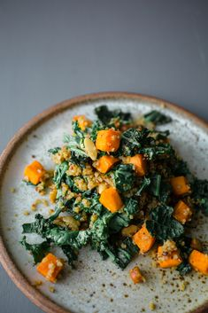 Warm Salad of Kale and Butternut Squash Quinoa - Camera & Clementine