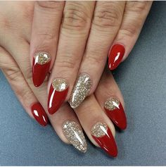 Red and gold almond nails