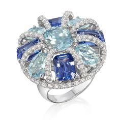 Blues Ring   18k white gold set with tanzanites, aquamarines, and diamonds
