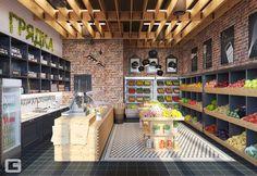 Giovani design studio: tarz ofisler ve mağazalar. Design Garage, Shop Front Design, Shop House Plans, Shop Plans, Shop Interior Design, Store Design, Office Store, Vegetable Shop, Fruit Shop