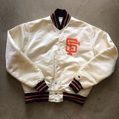 """SF Giants Starter Jacket. $75+$18(shipping) domestic. Sold as is. Some discoloration on left side pocket and sleeve and bottom snap doesn't snap. Size Medium (27""""x 24""""). Contact the shop at 415-796-2398 to purchase by phone or PayPal afterlifeboutique@gmail.com and reference item in post."""