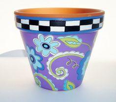 """Pintado a mano flor Pot terracota """"Caprichosas Blues"""" casa y jardín decoración-hecho por encargo"""