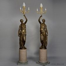 A Magnificent and Large Pair of Bronze Figural Candelabra