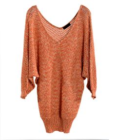 Batwing sleeves deep V-neckline pure colour pullover