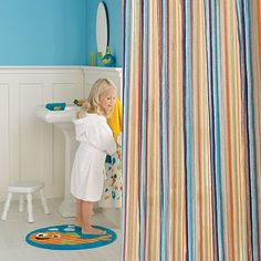 Shower curtain for the kiddos bathroom...buh-bye shower curtain with puppies and kitties, the kiddos are getting older! :/
