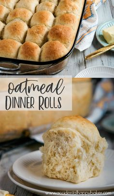 Oatmeal dinner rolls are light and fluffy. Soft and mildly sweet. Easy to make, but taste like perfection. Say hello to your new favorite dinner roll! Flour Recipes, Bread Recipes, Cooking Recipes, Ww Recipes, Sweet Recipes, Dinner Recipes, Cooking Bread, Bread Baking, Baking Biscuits