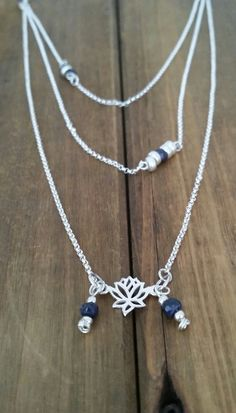 Layered Necklace Sapphires Sterling Silver-VanClarenJewelry.etsy.com  https://www.etsy.com/listing/247586870/layered-necklace-sterling-silver-lotus