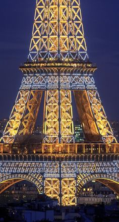 Eiffel Tower at night. Click through link to view a more detailed & larger image. ✂️